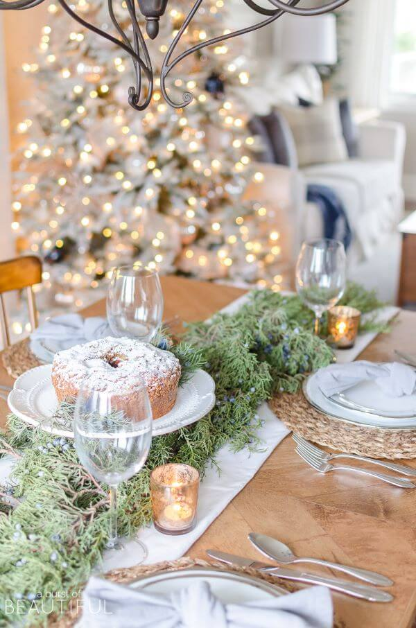 Christmas table with cake decorating
