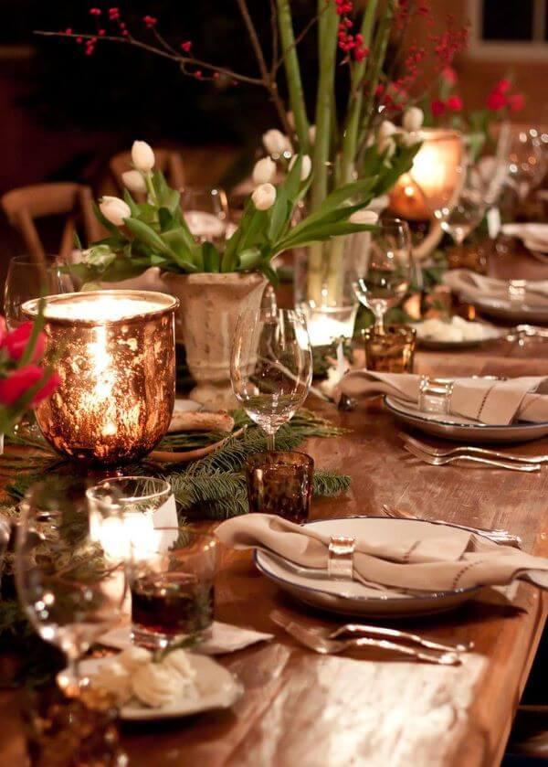 Christmas table with wood