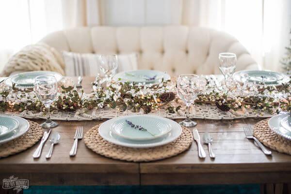 Christmas table with matching white sofa