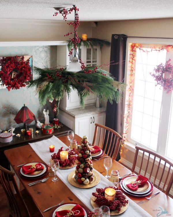 Christmas table decorated with fruit and details in red