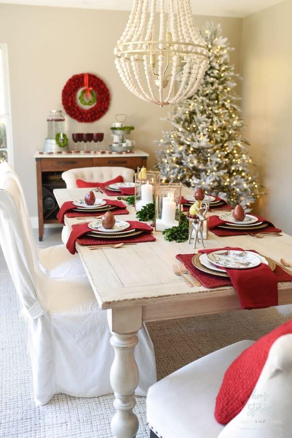 Christmas table decorated with red and white