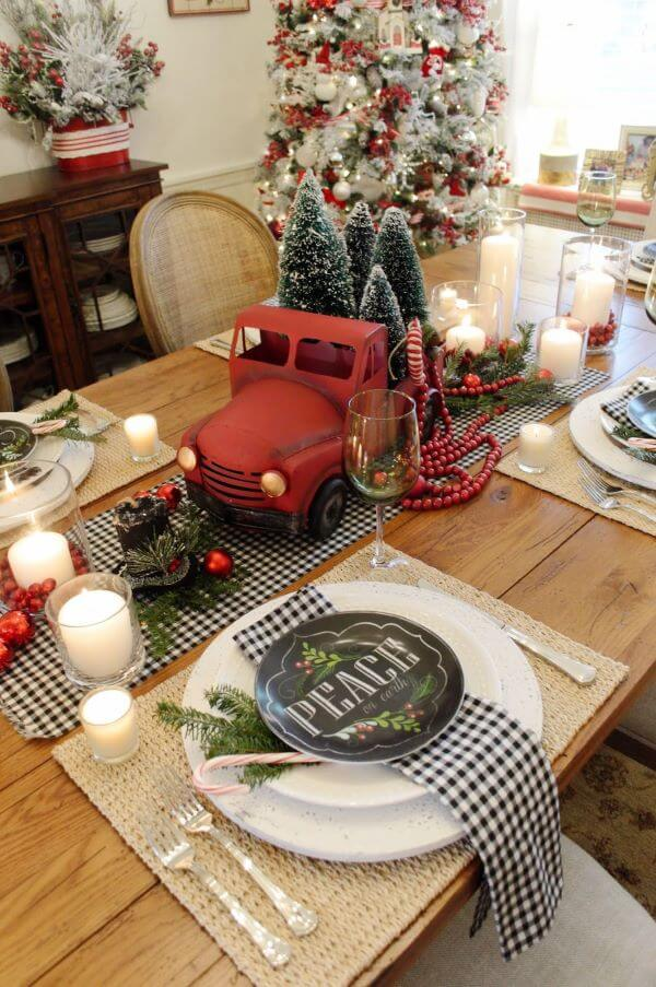 Christmas table decorated with beautiful options