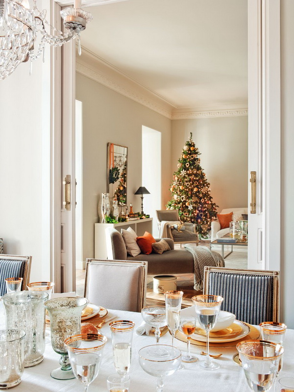 Christmas table decorated with gold details