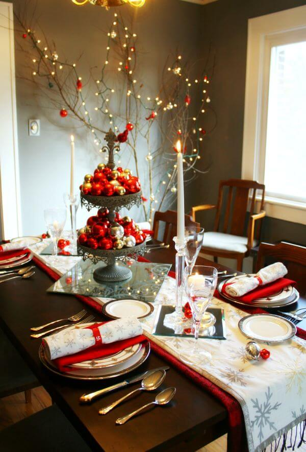 Christmas table decorated with red and silver