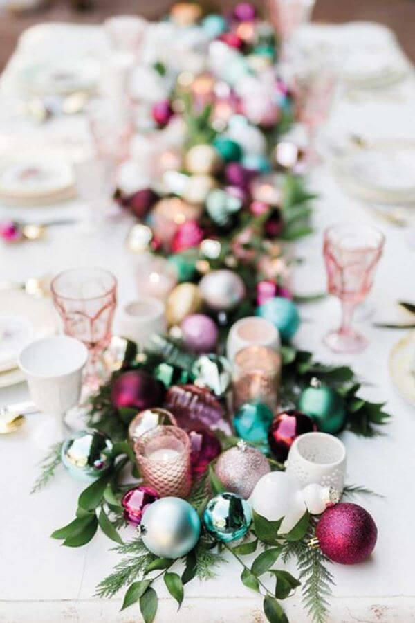 Christmas table decorated with Christmas tree decorations