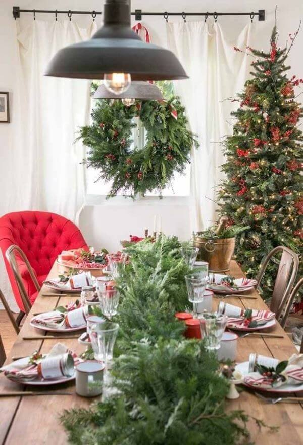 Christmas table in the modern living room