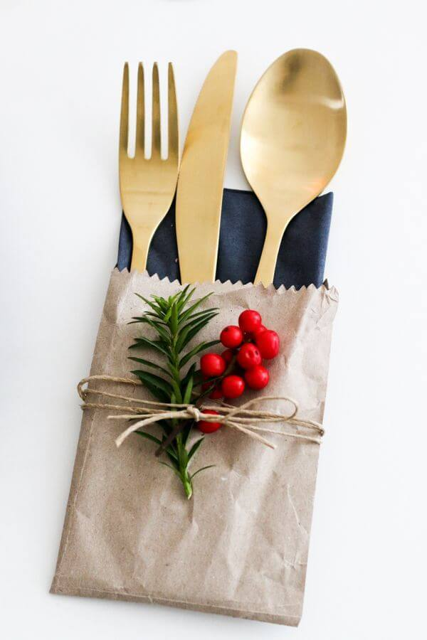 Christmas table with decorated cutlery