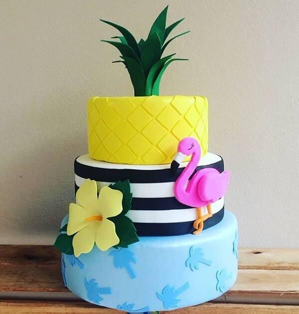 Flamingo fake cake made in eva