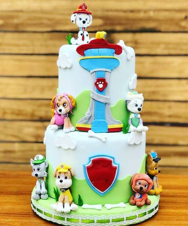 The characters in the fake cake Canine Patrol were made with biscuit