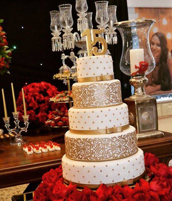 15 year old fake cake mixing shades of white and gold