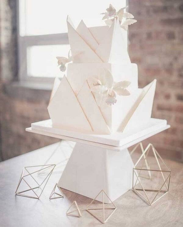 Futuristic fake design cake stands out in the environment