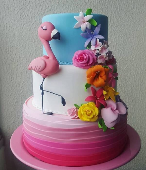 Flamingo fake cake made in biscuit