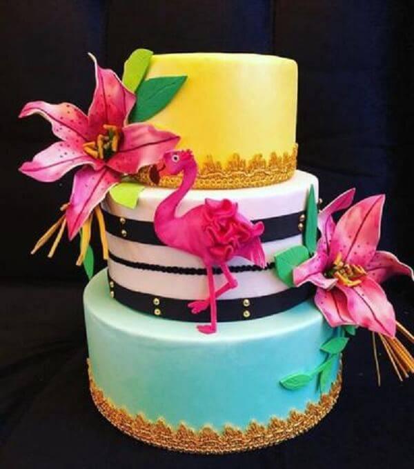 Flamingo fake cake made on three floors