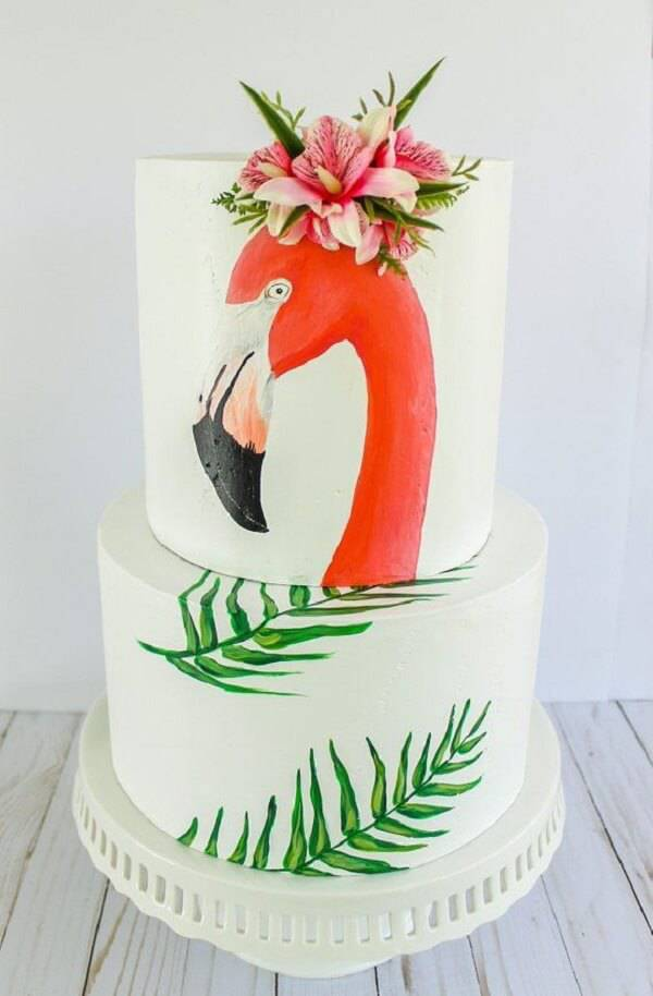 Flamingo fake cake with flowers on top
