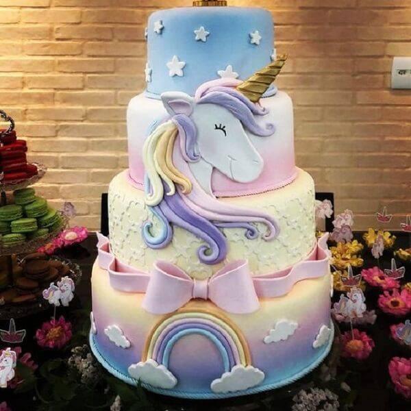 Super delicate fake unicorn cake