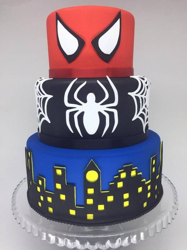 Three-layer spider man fake cake