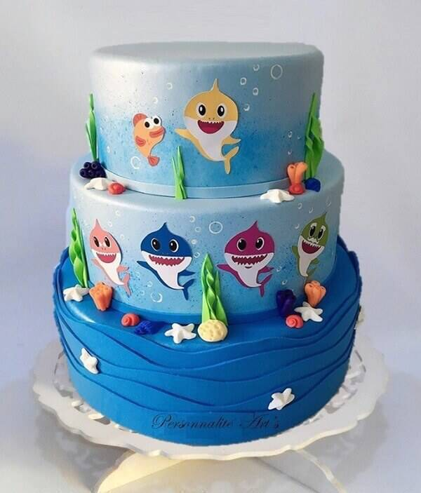 """EVA fake cake is inspired by the characters from """"Baby Shark"""""""
