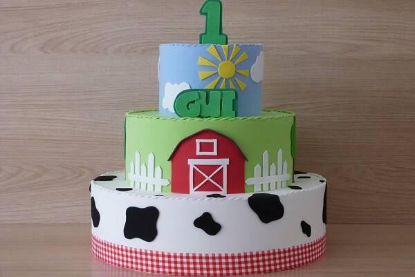 Three-layer farm fake cake