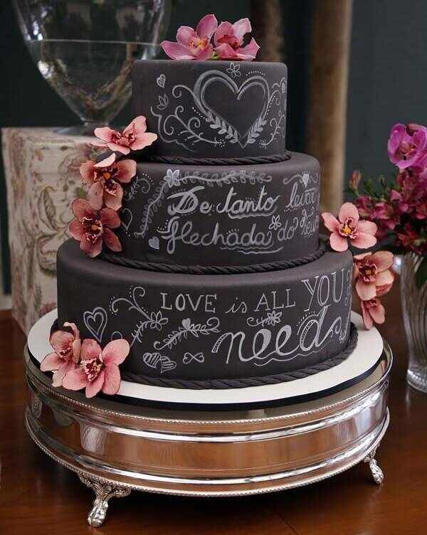 Several sentences are part of the decoration of the wedding fake cake