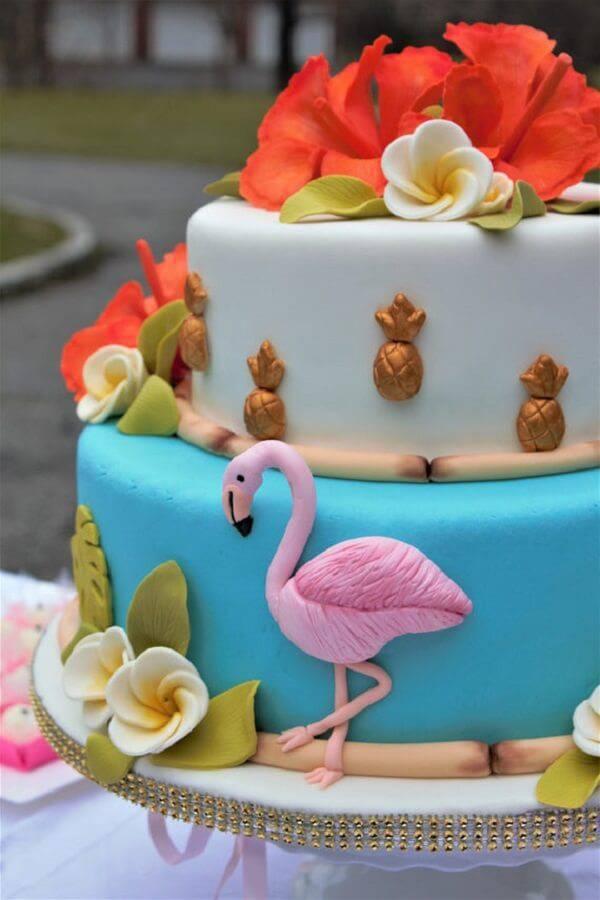 Creative flamingo cake fake model