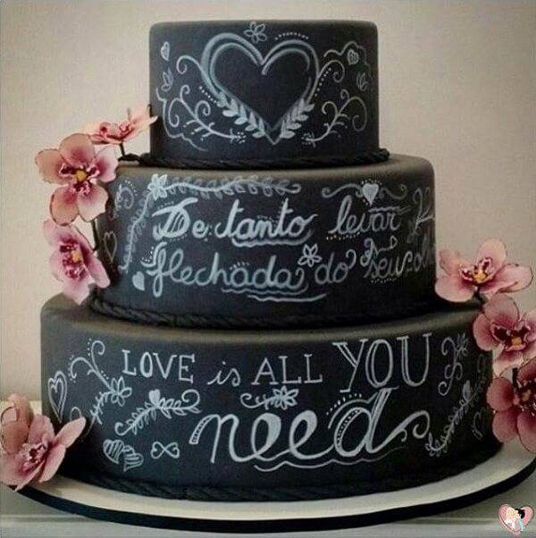 Wedding cake fake model with black background and phrases