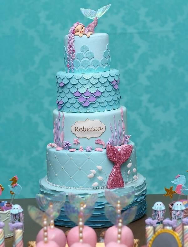 Mermaid-themed cake fake model