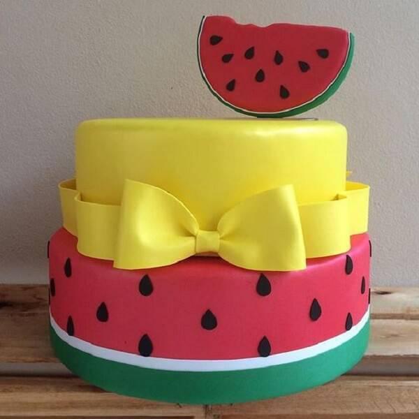 Magali fake cake with watermelon design