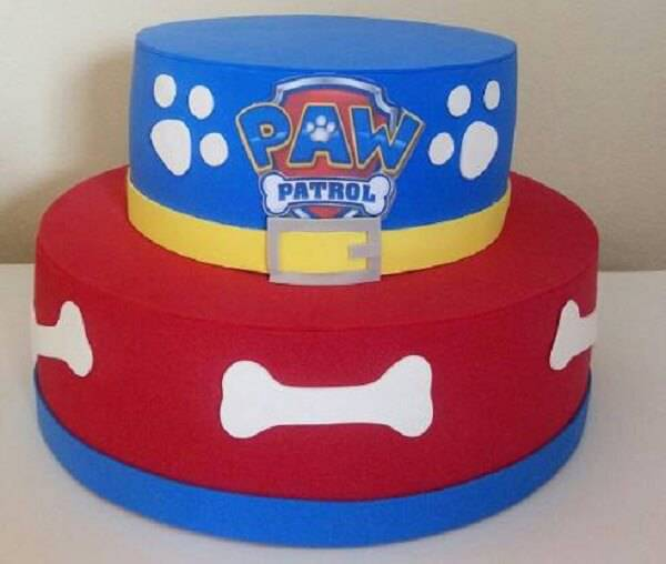 Canine patrol fake cake made with drawing of bones and paws