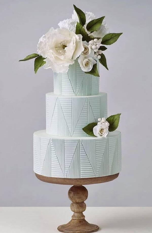 Fake wedding cake with floral top