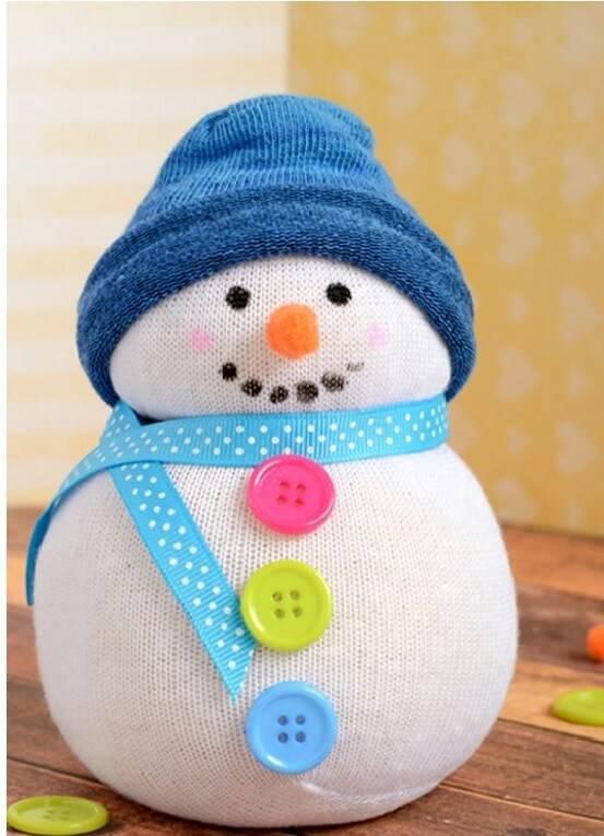 snowman Christmas souvenir with sock