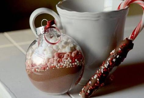 little Christmas souvenir with hot chocolate ingredients