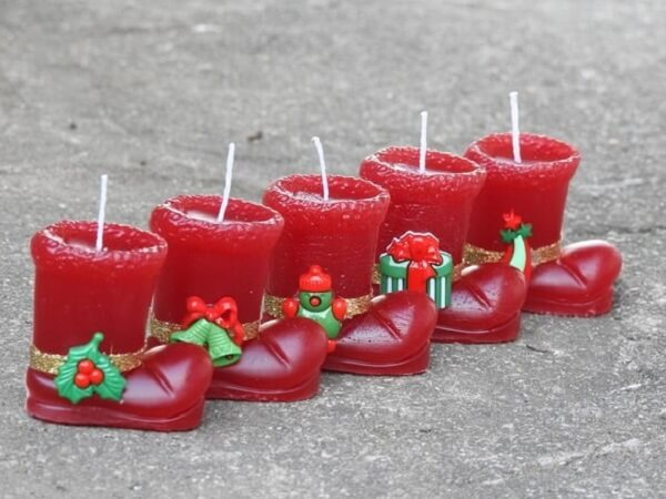 Christmas candle souvenir with red boot