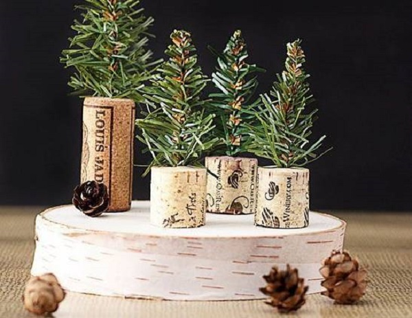mini pine tree with Christmas gift cork