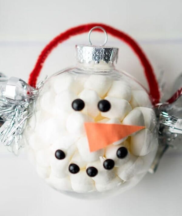 Snowman with marshmallow for Christmas remembrance