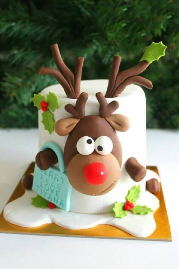 children's christmas cake decorated with american paste Foto SistaCafe