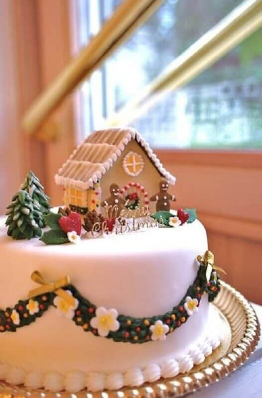 christmas cake decorated with american pasta Foto Hasshe