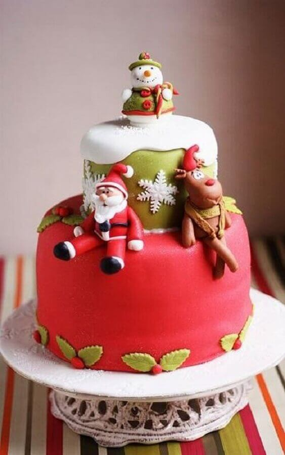 Christmas cake decorated with American pastry with Santa reindeer and snowman Photo PlanetaBambini