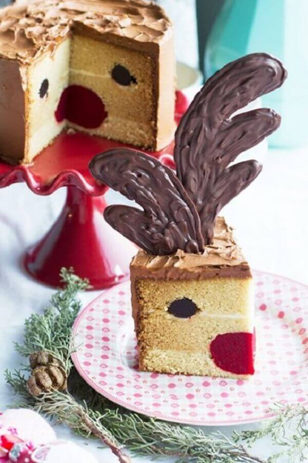 Christmas cake decorated inside with reindeer face Foto Pinterest