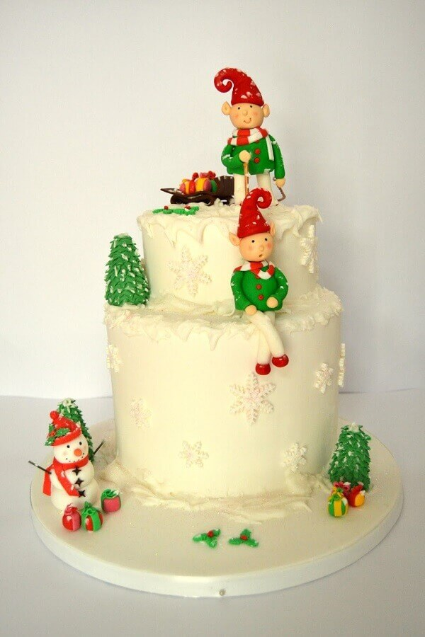 children's christmas cake decorated with american paste Foto Pinterest