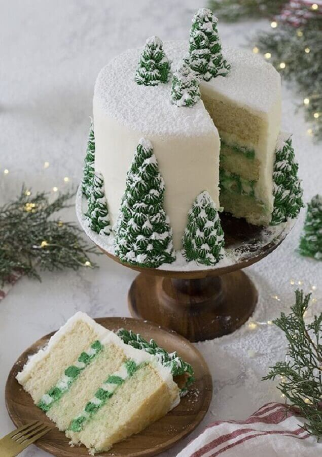 christmas decorated cake with whipped cream pinheir photos We Heart It
