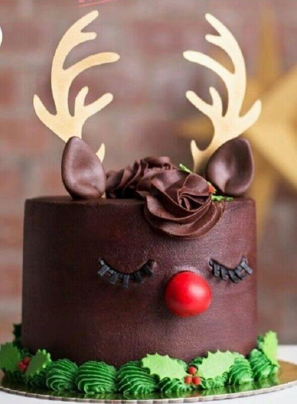 children's christmas decorated cake with reindeer face Photo Veintitantos Magazine