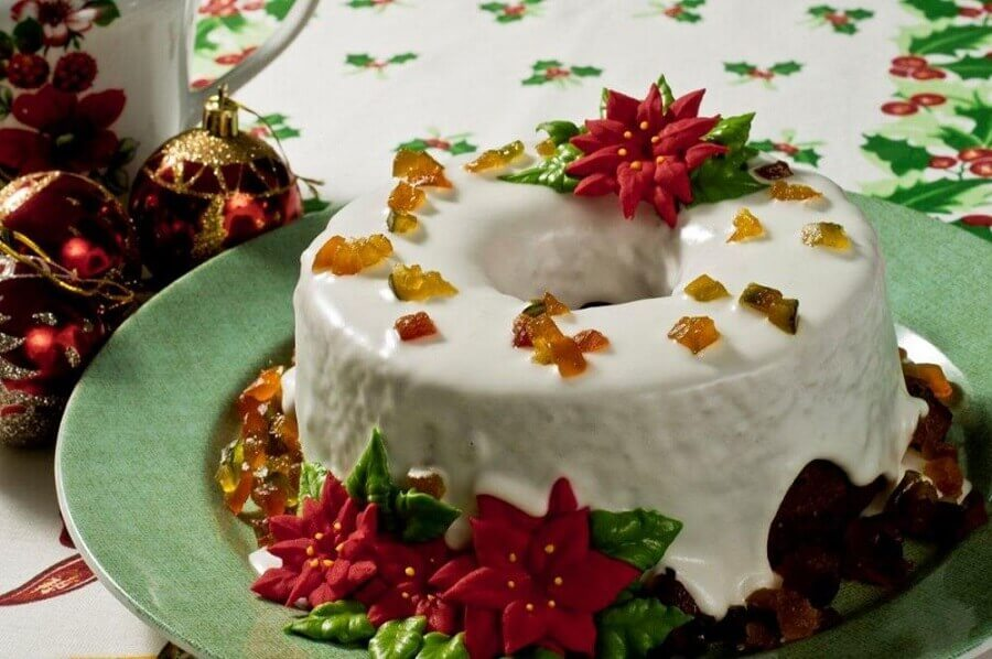 simple christmas decorated cake Foto Pinterest
