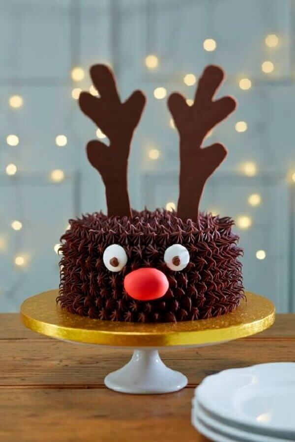 Christmas cakes decorated with whipped cream with reindeer face Foto Hobbycraft