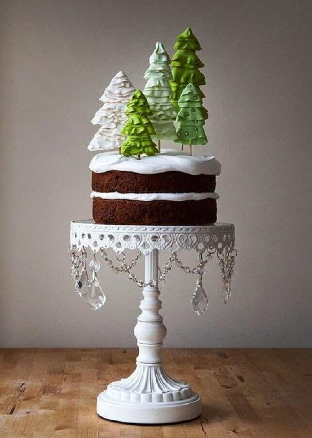 Christmas cakes decorated with whipped cream and chocolate pine trees on top Photo We Heart It