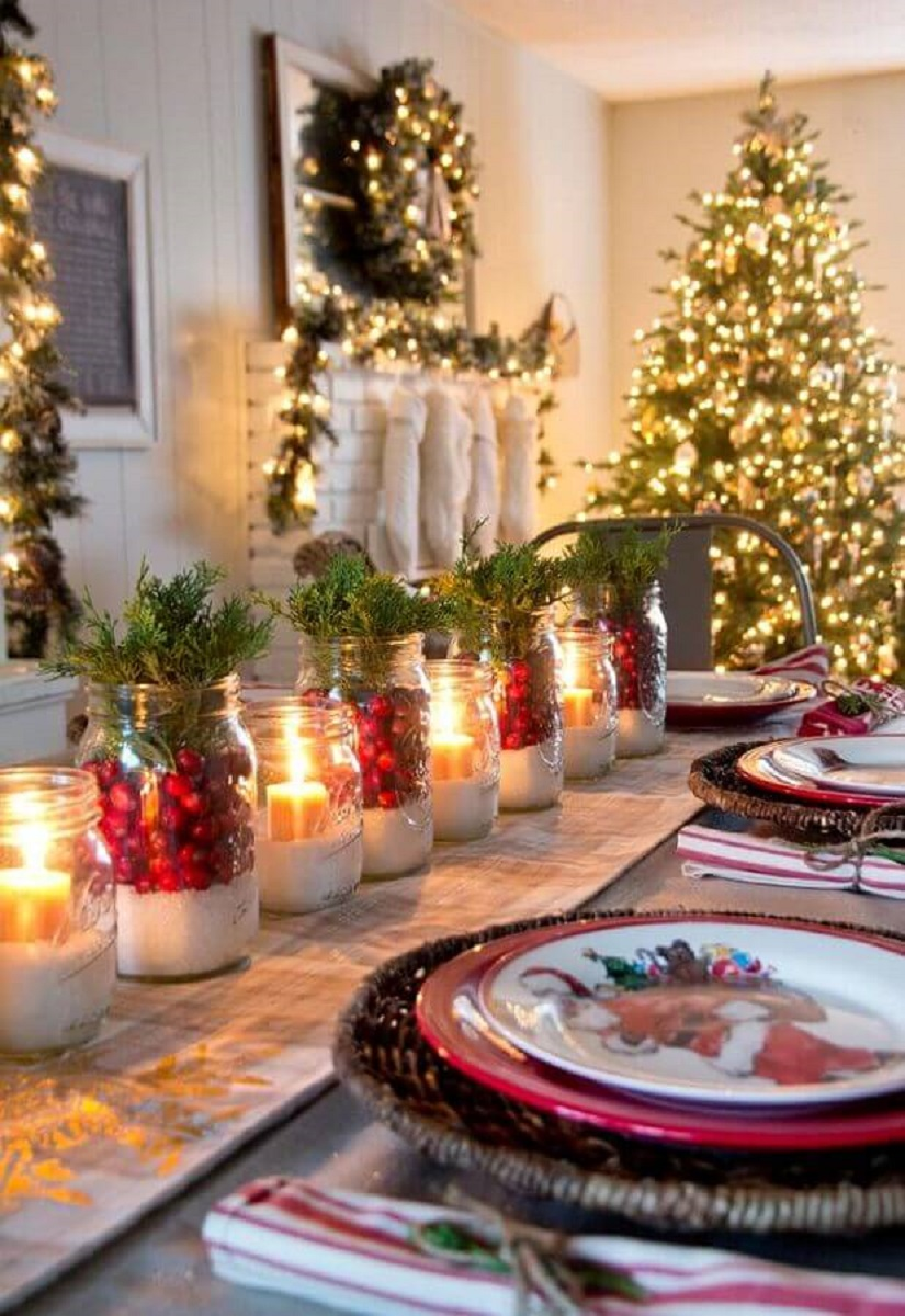 ideas for decorating Christmas table with candles Photo Home Fashion Trend