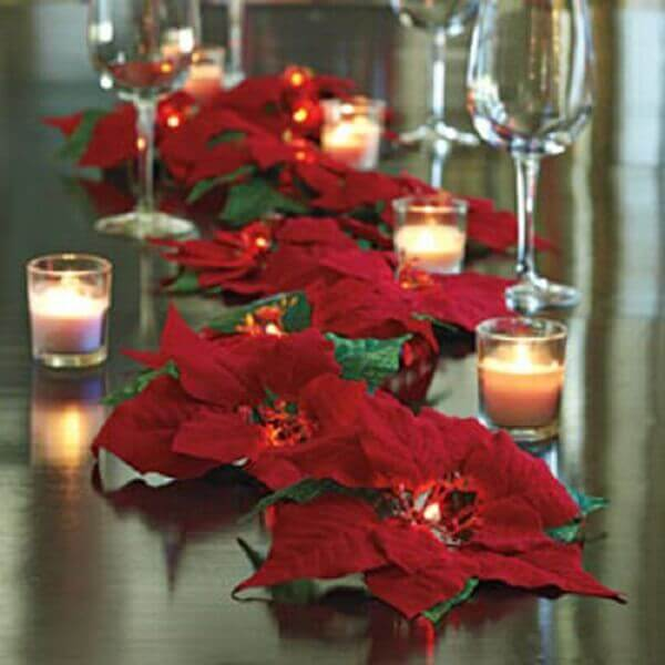 Christmas flower decorates table