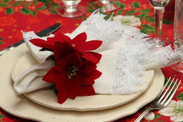 Christmas flower decorates dish