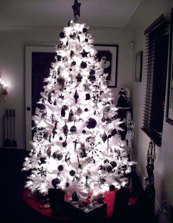 Lights make all the difference in decorating a white Christmas tree