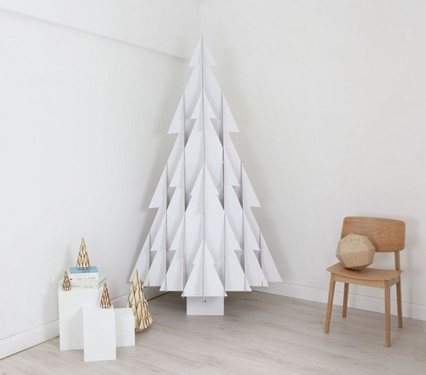 White Christmas tree made of wood structure