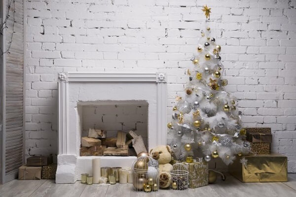Special corner decorated with a white Christmas tree